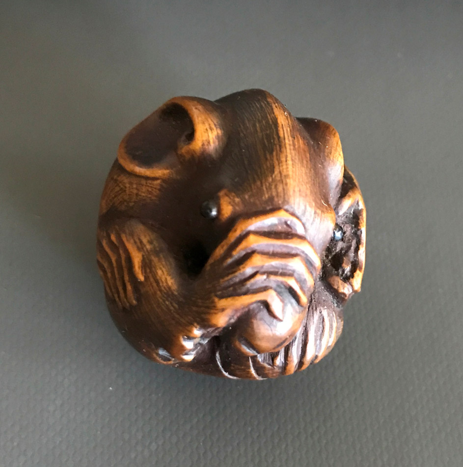 Wood netsuke of a coiled rat