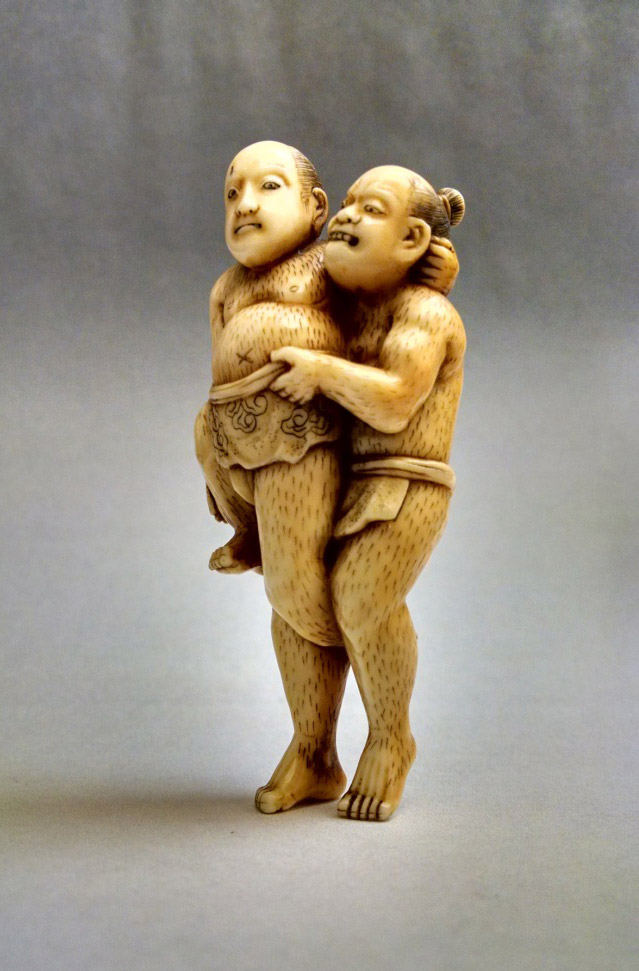 Ivory Netsuke: Two Wrestlers