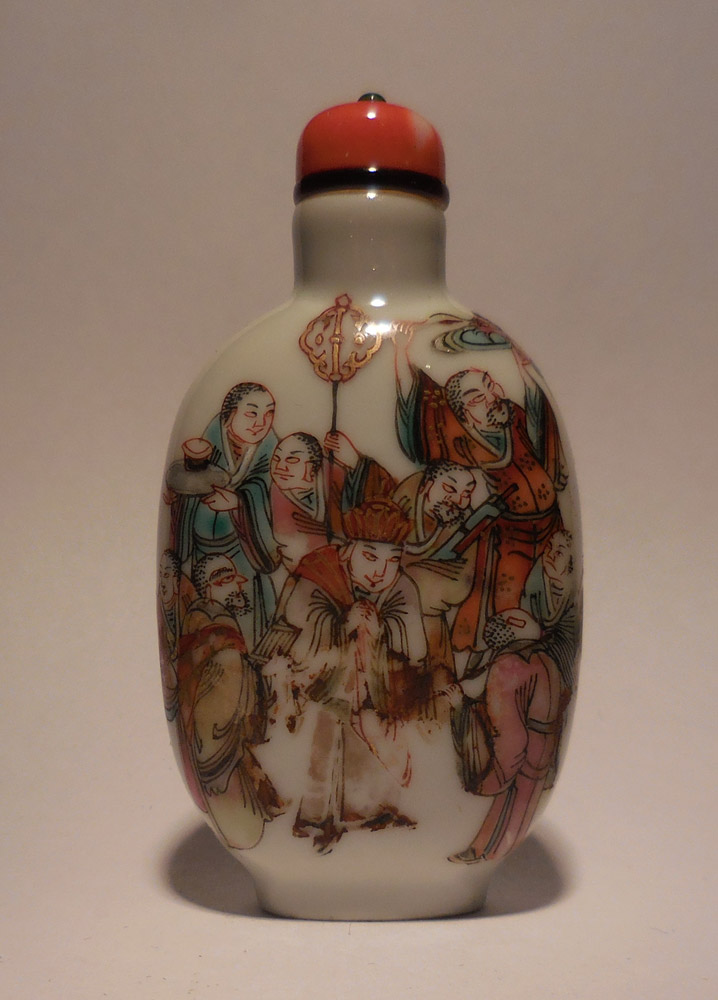 Porcelain Snuff Bottle decorated with the 18 Lohan