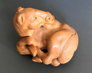 Netsuke of a rolling horse (sold)