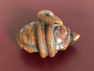 Snake and tortoise netsuke